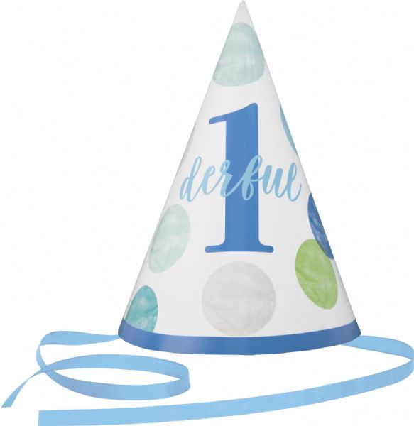 Blue Dots 1st Birthday Baby Hat